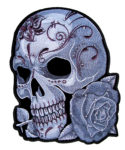ladies sugar skull patch with rhinestones and roses