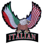 patriotic american eagle with italian flag