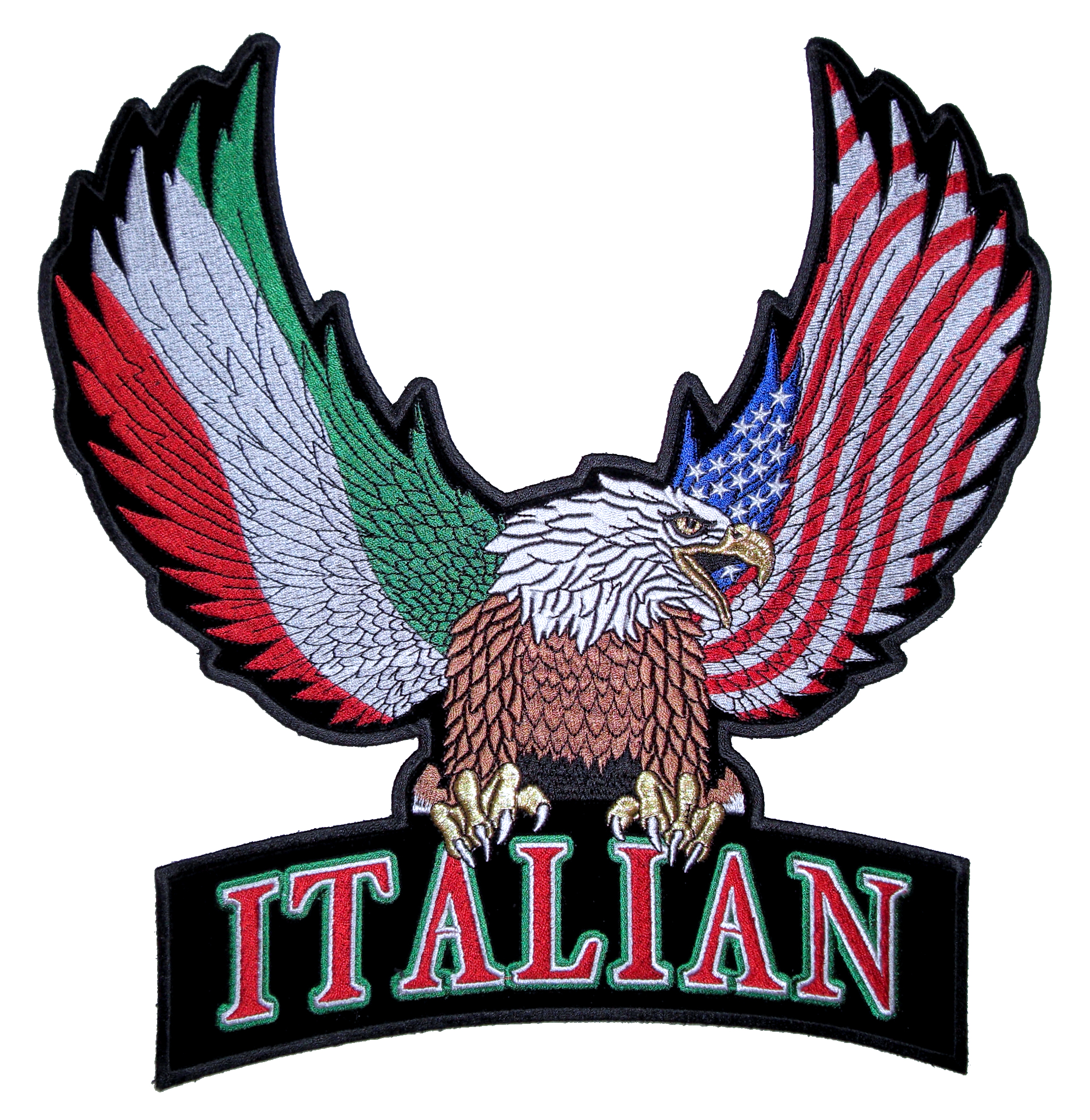 Italian American: Patriotic Eagle With The Italian Flag And American Flag