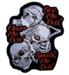 see no evil, hear no evil, speak no evil skull patch