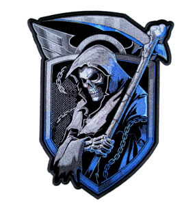 angel of death grim reaper with shield patch