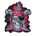 Pirate Skull with red bandanna and crossed swords patch