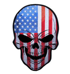 Patriotic American Flag Skull Patch