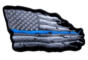 distressed American flag with blue thin line patch