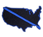us map police blue thin line patch