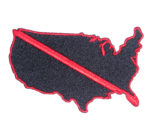 us map fireman red thin line patch