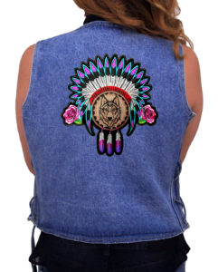 Roses, feathers, wolf Indian patch