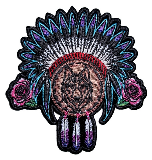 native american indian wolf with feathers and roses dream catcher ladies biker patch
