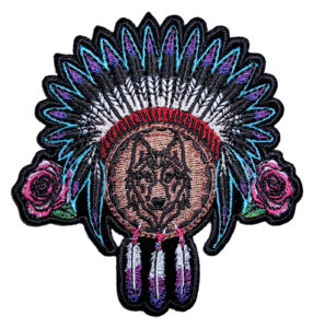 Ladies Native American Indian roses, feathers and wolf patch