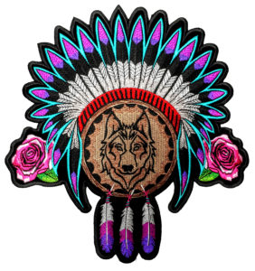 Ladies Native American Indian wolf patch