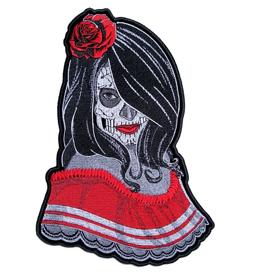 sugar skull temptress biker patch