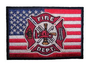 patriotic fireman fire fighter biker patch