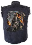 grim reaper sleeveless denim shirt