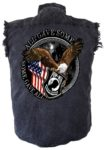sleeveless pow mia denim shirt