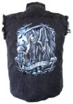 grim reaper biker denim shirt