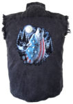 patriotic wolf howling sleeveless biker shirt