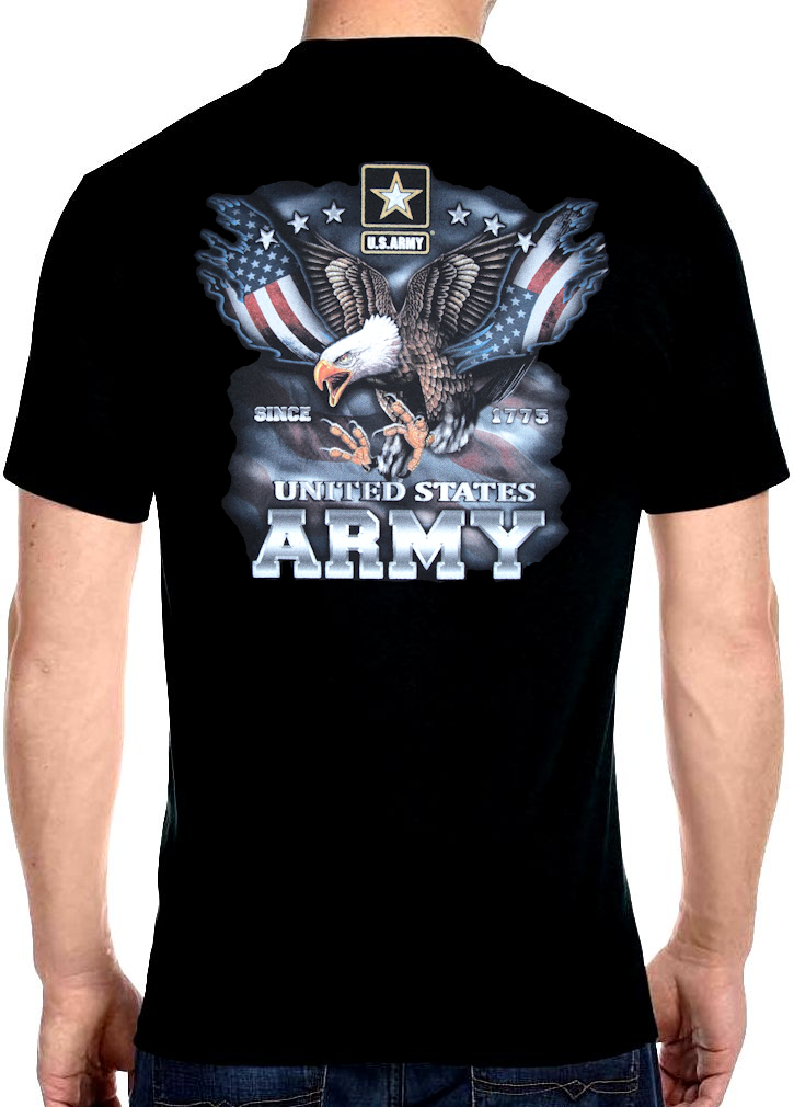 Mens hanes united states army patriotic bald eagle biker t for Army design shirts online