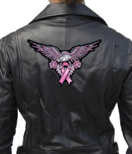lady rider eagle with pink ribbon jacket