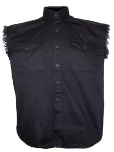 black sleeveless denim shirt