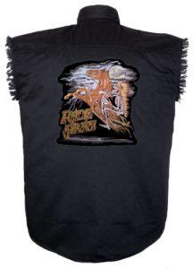 ride free sleeveless denim biker shirt