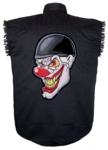 evil clown sleeveless biker shirt
