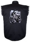 skeleton cowboy sleeveless biker shirt