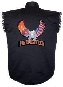 patriotic eagle firemen sleeveless biker shirt