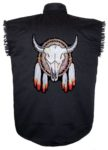 steer skull dream catcher sleeveless biker shirt