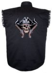 pirate skull sleeveless biker shirt