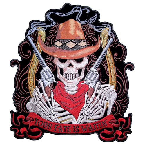 skeleton cowboy with guns patch
