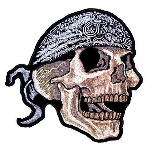 biker skull guy and bandanna