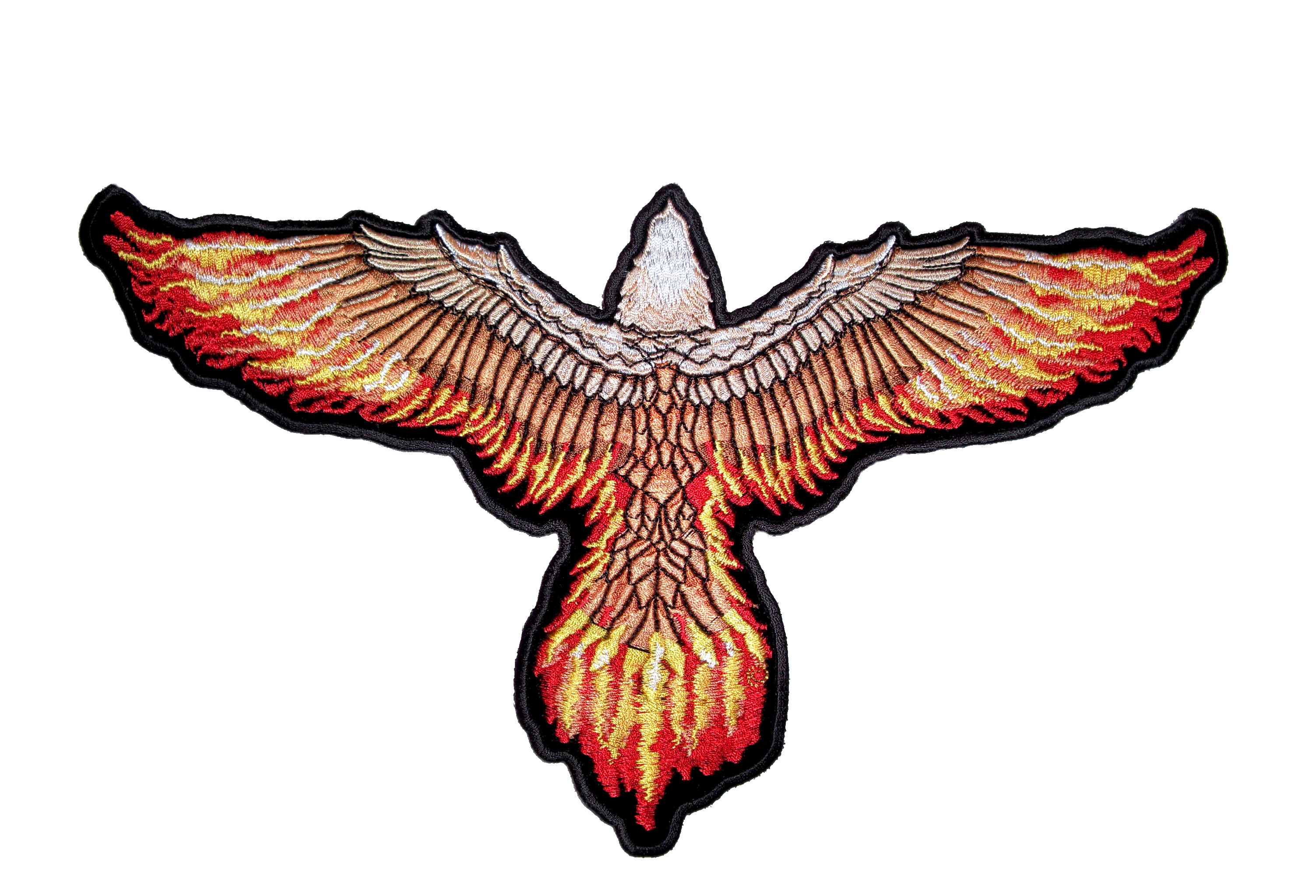Flying eagle with flaming wings embroidered biker patch quality flying flaming eagle altavistaventures Images