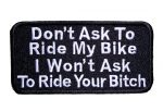 don't ask to ride my bike patch