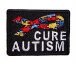 cure autism puzzle piece ribbon patch