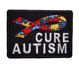 cure autism puzzle piece ribbon patch