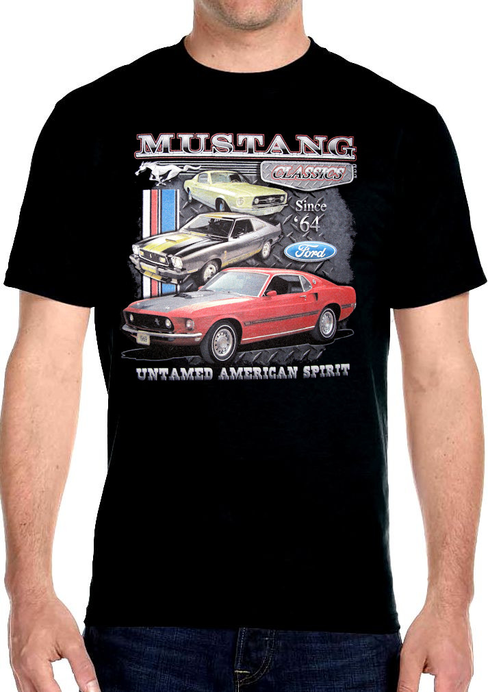 Mens hanes classic mustang muscle car biker t shirt design for Vintage mustang t shirt