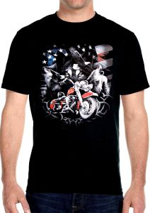 patriotic wolves and motorcycle tee