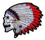skull native american headdress patch