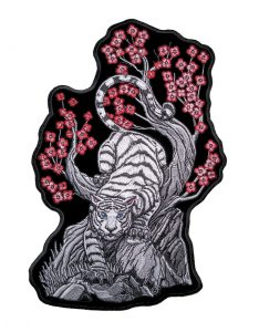 White tiger and flowers biker patch