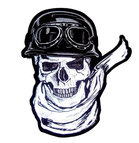 reflective skull biker patch