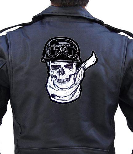 reflective skull biker patch