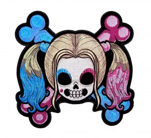 ladies skull and crossbones day of the dead patch