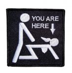 you are here doggie style funny patch