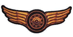 winged wheel in orange biker patch