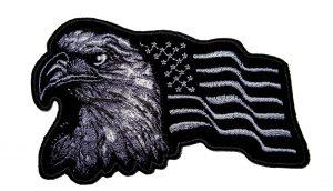 Silver Eagle US Flag Facing Left Biker Patch