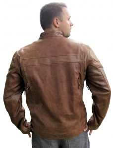 Top grain buffalo hide brown leather jacket