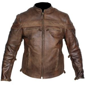 Concealed carry retro brown buffalo hide leather cafe' jacket