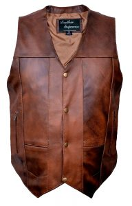 Men's 10 pocket brown buffalo hide leather vest