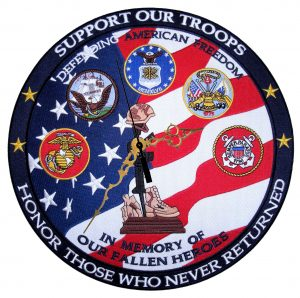support our troops biker patch clock