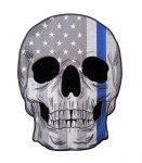 thin blue line skull biker patch